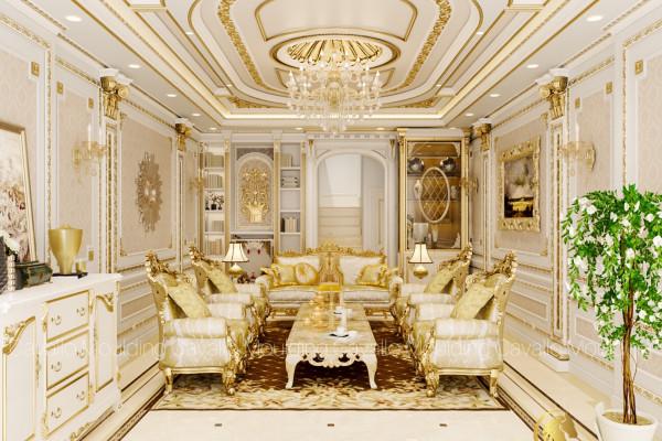 Thiết kế nội thất dát vàng cùng phào chỉ nhựa Hàn Quốc