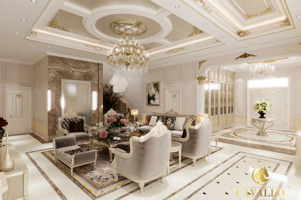 Bản thiết kế phòng khách sử dụng vật liệu chỉ nhựa Hàn Quốc.