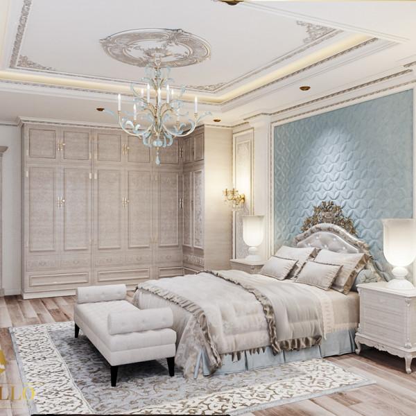 Thiết kế phòng ngủ master đẳng cấp sử dụng vật liệu chỉ nhựa Hàn Quốc.